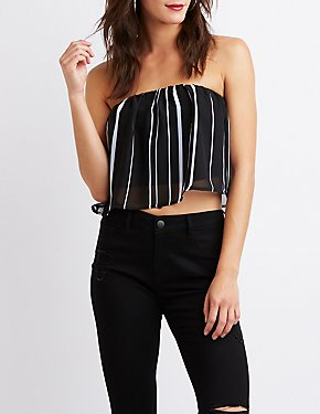 Striped Flounce Tube Top