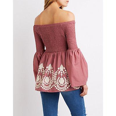 Crocheted-Trimmed Smocked Off-The-Shoulder Top
