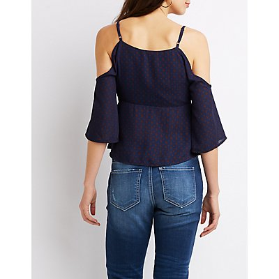 Printed Ruffle Wrap Cold Shoulder Top
