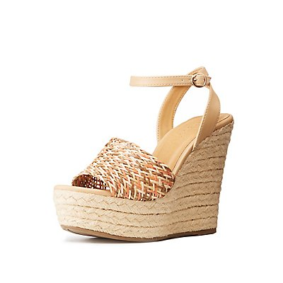 Bamboo Woven Espadrille Wedge Sandals