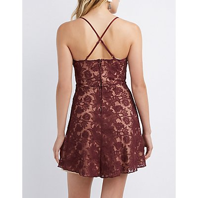 V-Neck Lace Skater Dress