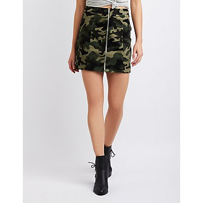 Camo Zip-Up Mini Skirt