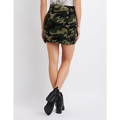 Camo Zip-Up Mini Skirt