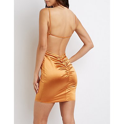 Satin Ruched-Back Bodycon Dress