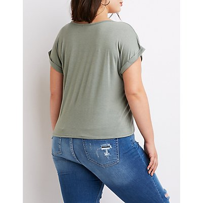Plus Size Strappy Tie-Front Tee