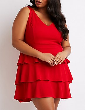 Plus Size V-Neck Ruffled Tiered Dress