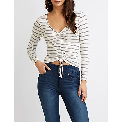 Striped Ruched Crop Top