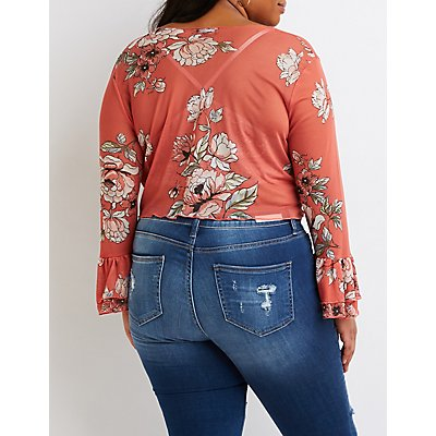 Plus Size Sheer Floral Print Crop Top
