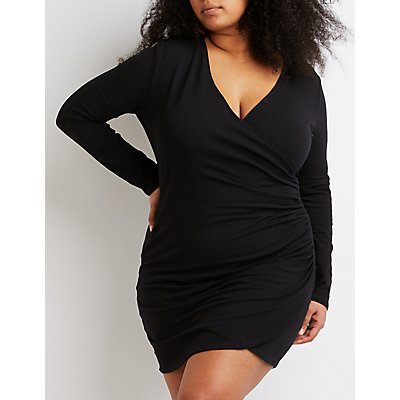 Plus Size Surplice Bodycon Wrap Dress