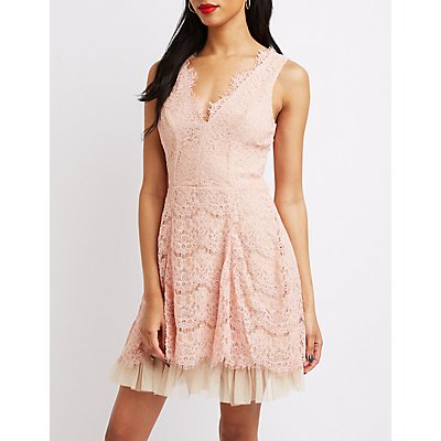 Scalloped Lace Skater Dress