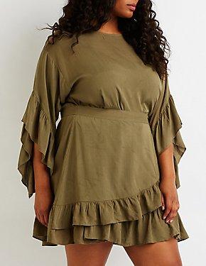4d56d33a166 Plus Size Ruffle Wrap Dress