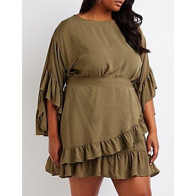 Plus Size Ruffle Wrap Dress