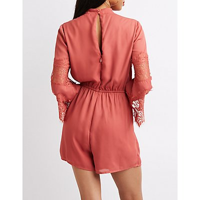 Mock Neck Lace-Inset Romper
