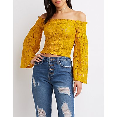 Smocked Off-The-Shoulder Lace Sleeved Top