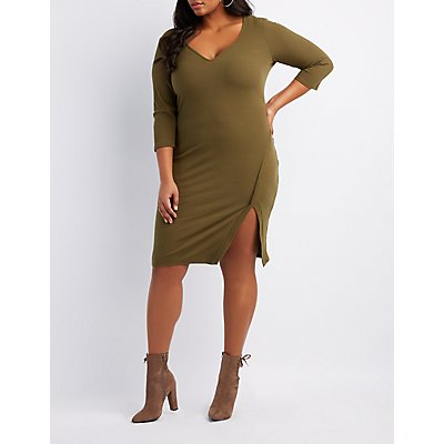 Plus Size Ribbed Knit Bodycon Dress