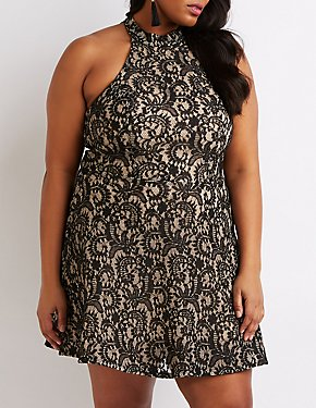 Plus Size Lace Mock Neck Skater Dress