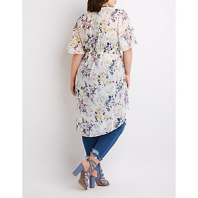 Plus Size Floral High-Low Top