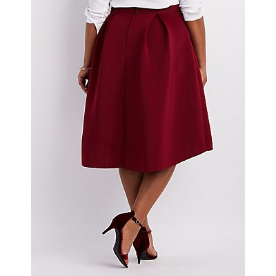Plus Size Full Pleated Scuba Skirt