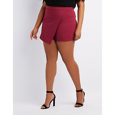 Plus Size Asymmetrical Wrap Skort