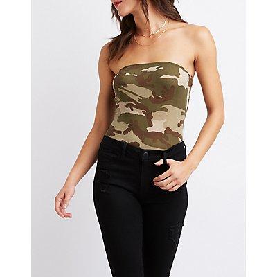 Camo Print Tube Bodysuit