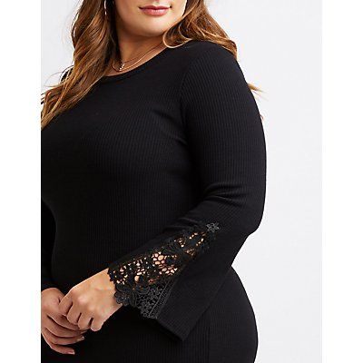 Plus Size Ribbed Crocheted-Trim Bell Sleeve Dress