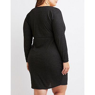 Plus Size Ribbed Knit Surplice Bodycon Wrap Dress
