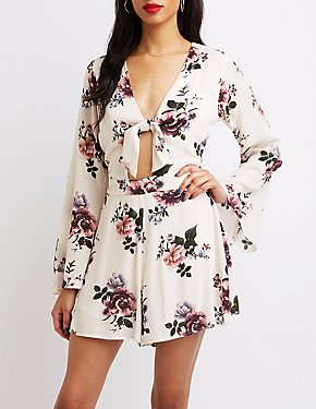 Floral Bow Detailed Romper