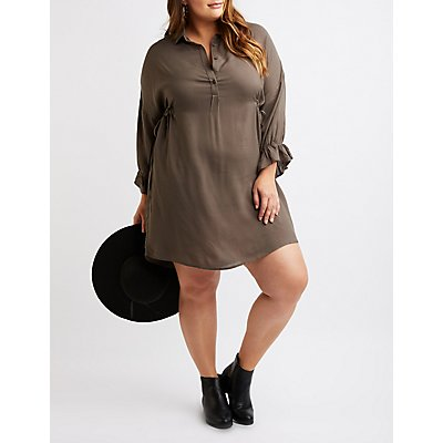 Plus Size Button-Up Shirt Dress