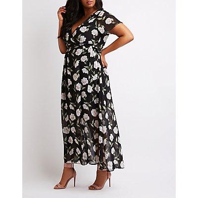 Plus Size Floral Surplice Wrap Maxi Dress