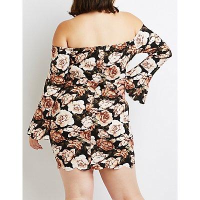 Plus Size Floral Off-The-Shoulder Bell Sleeve Dress
