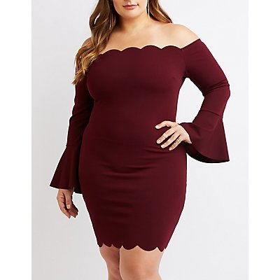 Plus Size Off-The-Shoulder Scallop Bodycon Dress