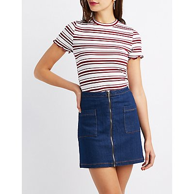 Striped Lettuce-Trim Crop Top