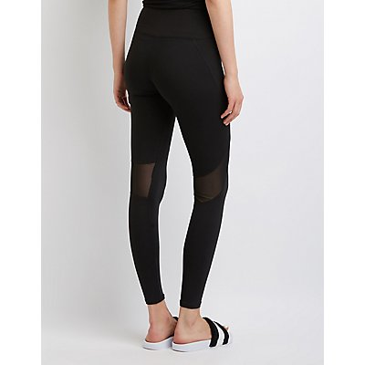 Cotton Mesh Inset Leggings