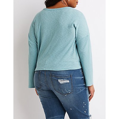 Plus Size Ribbed Knit Pullover