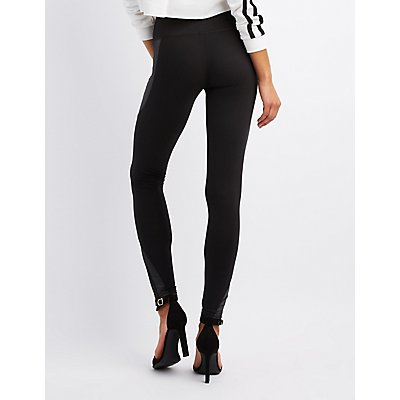 High-Waist Stretch Faux Leather Panel Leggings