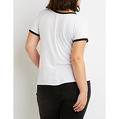 Plus Size Not Interested Graphic Ringer Tee