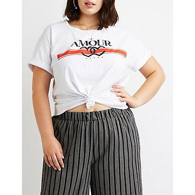 Plus Size Amor Printed Graphic Tee