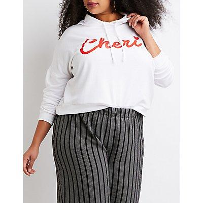 Plus Size Cheri Drawstring Crop Hoodie