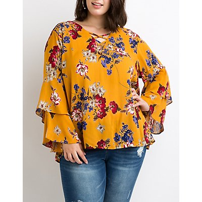 Plus Size Floral Lattice-Back Bell Sleeve Top