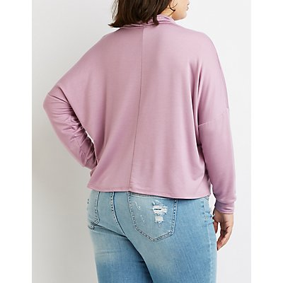 Plus Size Cowl Neck Drawstring Heartbreaker Pullover Sweatshirt