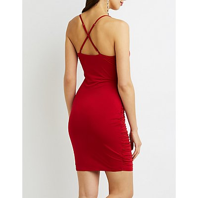 Ruched Cross-Back Bodycon Dress