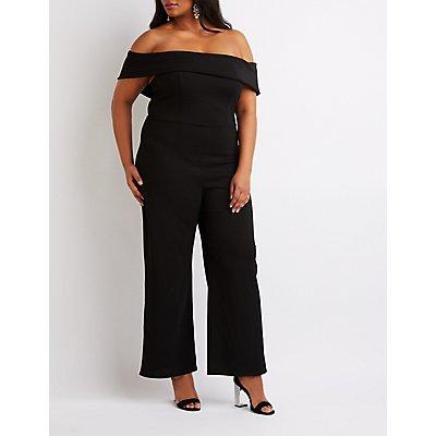 Plus Size Off-The-Shoulder Wide Leg Jumpsuit