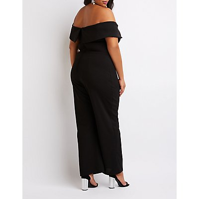 Plus Size Off-The-Shoulder Wide Leg Jumpsuit