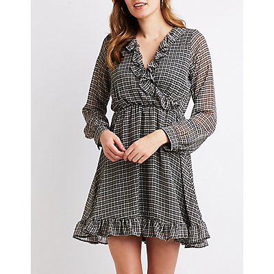 Plaid Ruffle-Trimmed Skater Dress