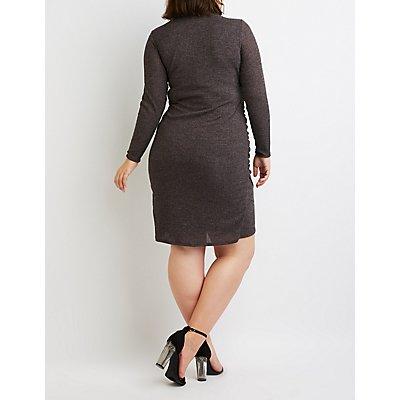 Plus Size Ribbed Knit Surplice Midi Sweater Dress