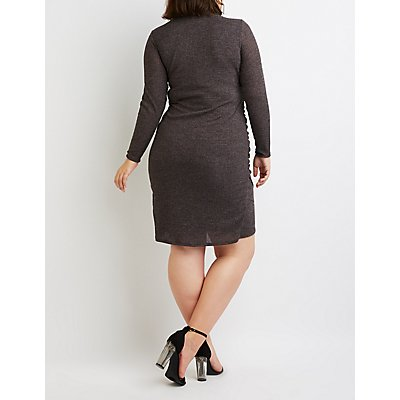 Plus Size Ribbed Knit Surplice Midi Sweater Dress