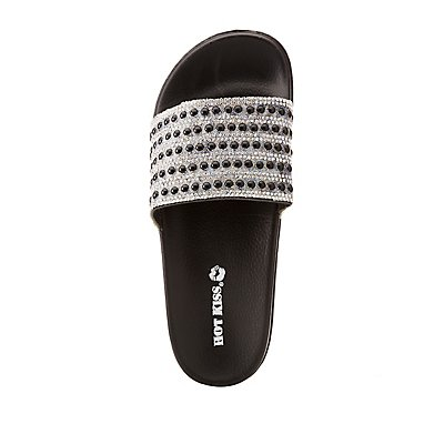 Crystal & Faux Fur Pearl Embellished Slides