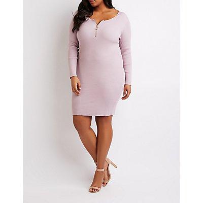 Plus Size Ribbed Zipper-Detail Bodycon Dress
