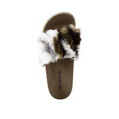 Camo Faux Fur Slide Sandals