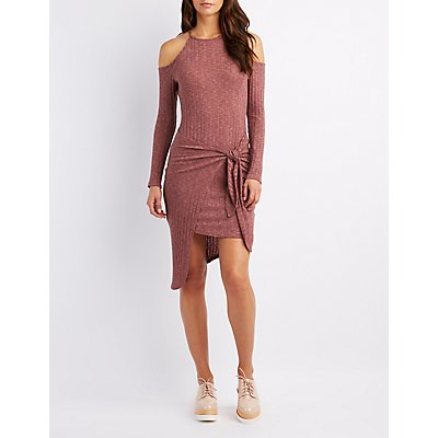 Cold Shoulder Asymmetrical Front-Tie Dress